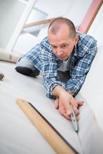 Handyman Fitting Carpet While ...