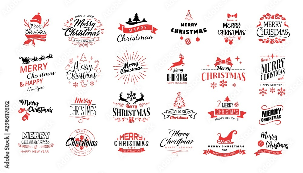 Fototapeta Lettering. Merry Christmas. Happy New Year, Typography set. Vector logo, emblems, text design. Usable for banners, greeting cards, gifts etc.