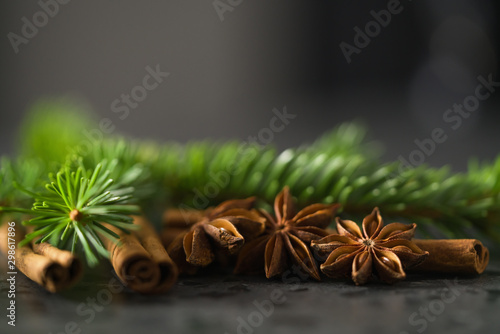 closeup of spruce twig with cinnamon and anise on terrazzo countetop Wallpaper Mural