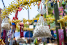 View Of Thai Lanna Traditional Rice Offering To The Holy Spirit On The Buddhist Day At A Local Temple In Chinag Mai, Thailand