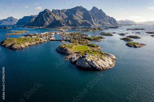 Foto auf Leinwand Himmelblau Henningsvaer Lofoten is an archipelago in the county of Nordland, Norway.