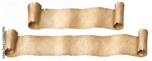 Fototapeta Fantasy paper or parchment scroll banners set isolated on white