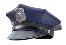 Police Cap With Badge Isolated On White Background - 3d Illustration