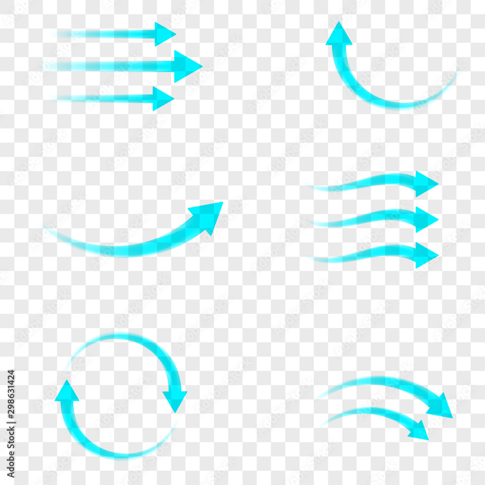 Fototapeta Set of blue arrow showing air flow isolated on transparent background. Vector design element.