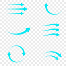 Set Of Blue Arrow Showing Air Flow Isolated On Transparent Background. Vector Design Element.