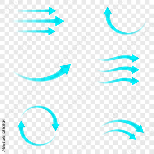 Set of blue arrow showing air flow isolated on transparent background Canvas-taulu