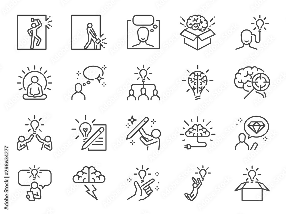 Fototapeta Idea line icon set. Included icons as thinking, creative, ideation, brain, light bulb, think out of the box and more.