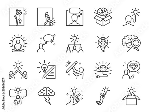 Fototapeta Idea line icon set. Included icons as thinking, creative, ideation, brain, light bulb, think out of the box and more. obraz
