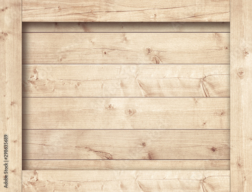Obraz Side of brown wooden crate, box, planks or frame for text or message - fototapety do salonu