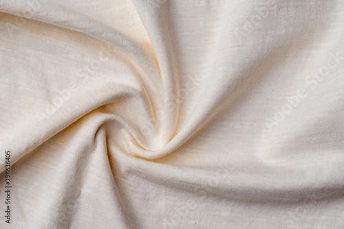 Obraz Fragment of crumpled light cotton linen fabric - fototapety do salonu