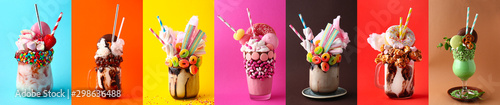 Fotografia Different delicious freak shakes on colorful background