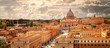 Panoramic view of Rome with St Peter's Basilica in Vatican City, Italy. Skyline of Rome. Rome architecture and landmark, cityscape.