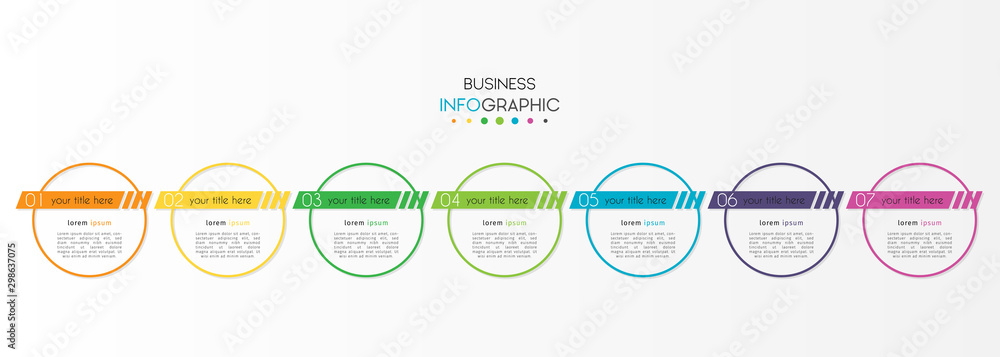 Fototapety, obrazy: Business infographic element with 7 options, steps, number vector template design