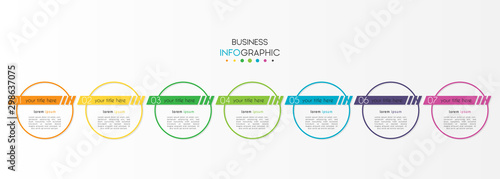 Canvastavla  Business infographic element with 7 options, steps, number vector template desig