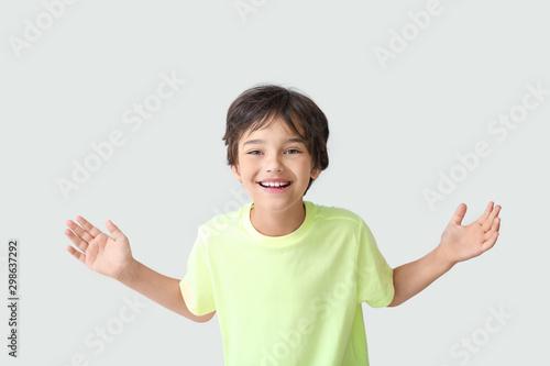 Happy little boy on light background