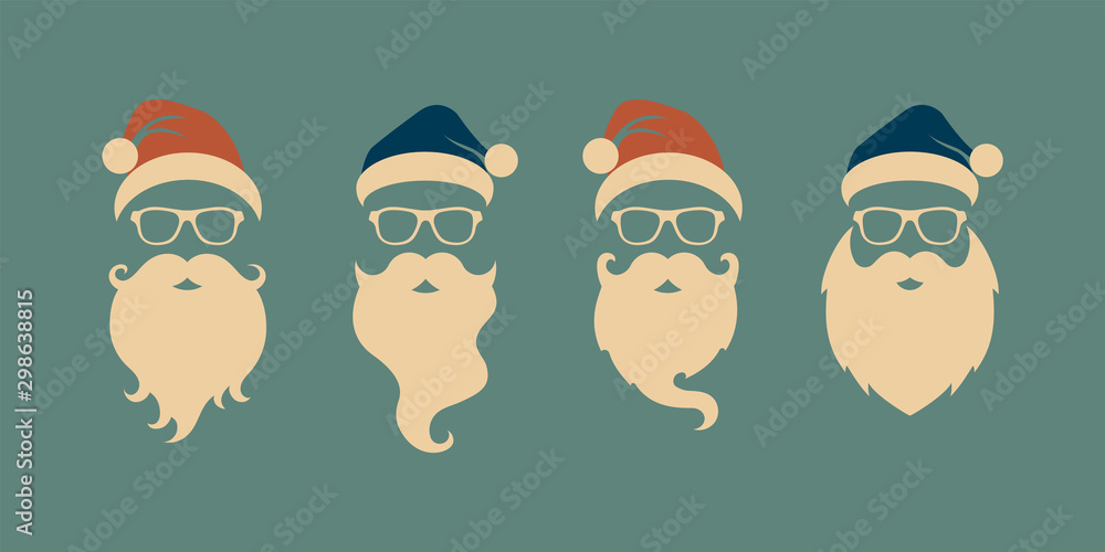 Fototapety, obrazy: Vector set of faces with Santa hats, mustache and beards. Christmas Santa design elements. Holiday icons
