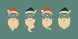 Vector set of faces with Santa hats, mustache and beards. Christmas Santa design elements. Holiday icons