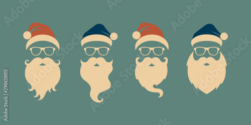 Pinturas sobre lienzo  Vector set of faces with Santa hats, mustache and beards