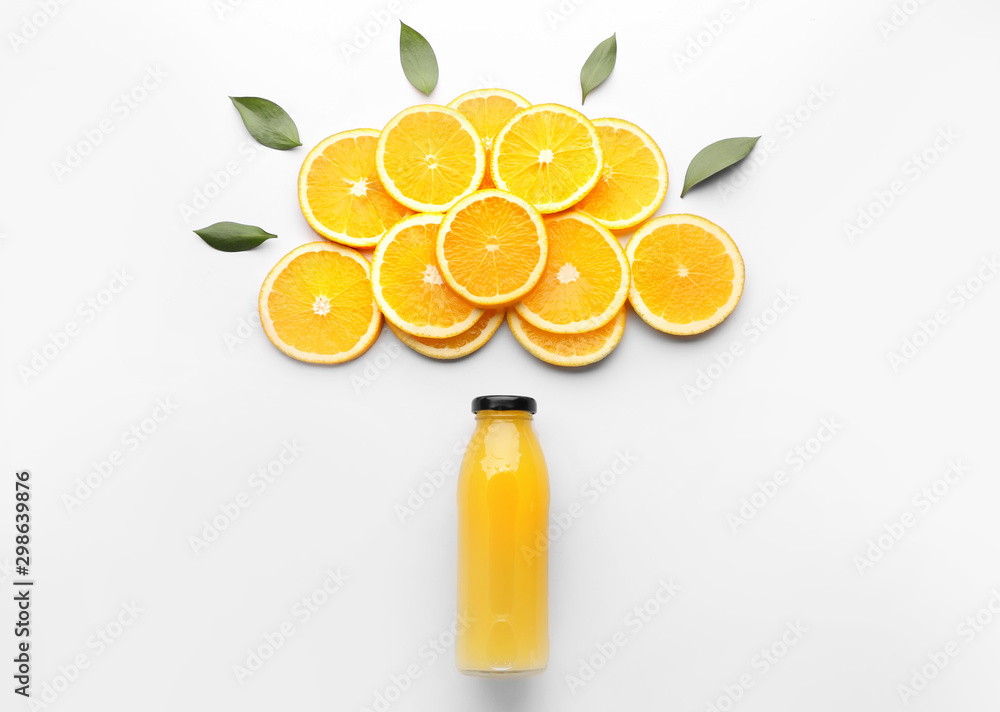Fototapeta Composition with orange juice on white background