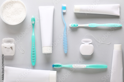 Fotomural  Set for dental hygiene on light background