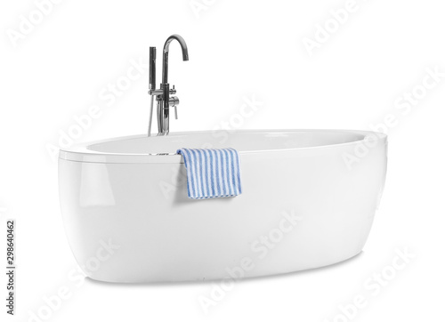 Clean bathtub isolated on white Fototapeta