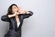 Happy Woman Making Shout Gestu...