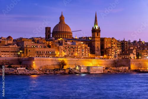Evening in City of Valletta in Malta