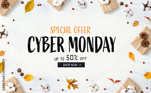 Cuadros en Lienzo  Cyber Monday banner with gift boxes with autumn leaves