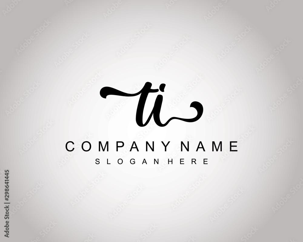 Fototapety, obrazy: TI Initial Handwriting logo template vector