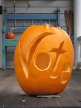 A Jack O' Lantern Is Carved Wi...
