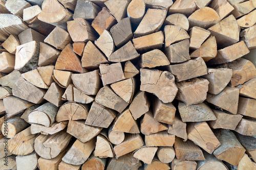 Deurstickers Brandhout textuur Stack of firewood logs, Beech wood.