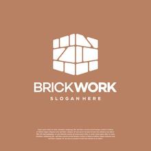 Modern Flat Brick Logo, Brick Work Simple Modern Logo Template, Logo Template, Symbol Icon