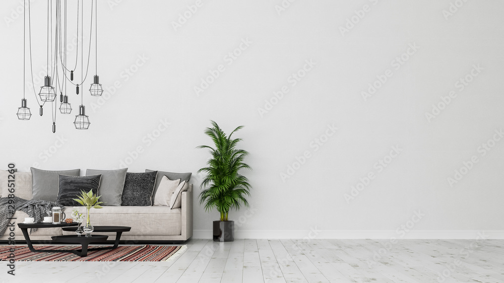 Fototapety, obrazy: Modern interior design of a living room indoors apartment, home, office, soft sofa, fresh flowers and modern interior details on a white wall background.