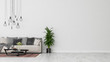 Leinwanddruck Bild - Modern interior design of a living room indoors apartment, home, office, soft sofa, fresh flowers and modern interior details on a white wall background.