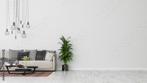 Valokuva  Modern interior design of a living room indoors apartment, home, office, soft sofa, fresh flowers and modern interior details on a white wall background