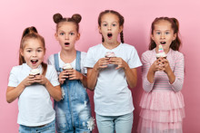 Charming Awesome Kids Have Prepared Delicious Cupcakes, Isolated Pink Background, Studio Shot, Party Time, Festive Time