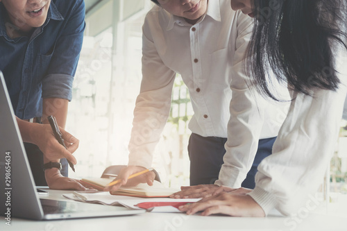 Business financial, accountant discussing with partner are meeting to audit finance planning sales to meet targets set in next year Canvas Print