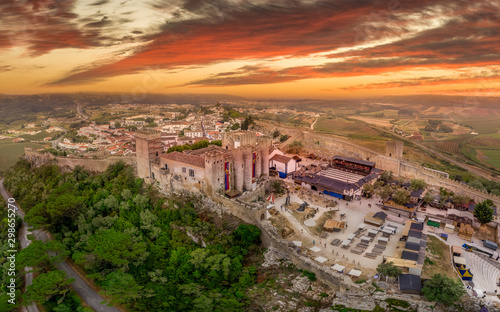 Valokuvatapetti Aerial view of Obidos castle and walled medieval town in Central Portugal one of