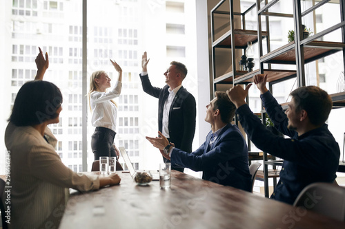 Fotografía  positive business people congratulating each other with good deal, happiness, positive emotion and feeling, we've done it