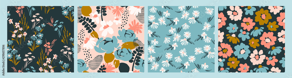 Fototapeta Floral abstract seamless patterns. Vector design for different surfases.