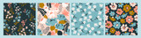 Fototapeta Kwiaty - Floral abstract seamless patterns. Vector design for different surfases.