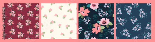 Floral abstract seamless patterns. Vector design for different surfases. - 298658018