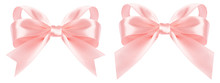 Pink Bow Ribbon Isolated On Wh...