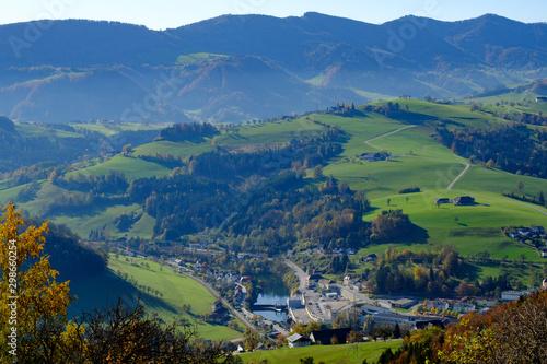 Poster Kaki panoramic view from mountain sonntagberg, lower austria