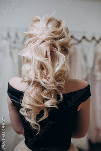 girl with white hair gathered in a bun beautiful hairstyle