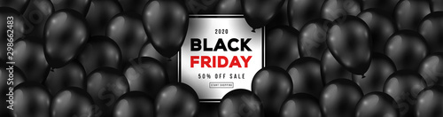 Foto op Canvas Wild West Black Friday Sale Long Horizontal Banner with Dark Shiny Balloons and Square Frame. Vector illustration.