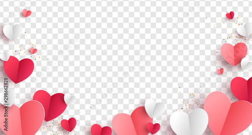 Red, pink and white hearts with golden confetti isolated on transparent background Fototapet