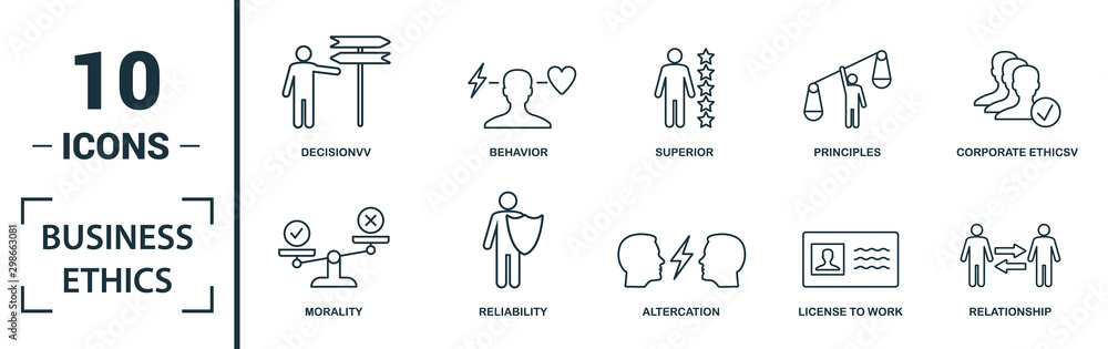 Fototapeta Business Ethics icon set. Include creative elements csr, trust, morality, license to work, profitability icons. Can be used for report, presentation, diagram, web design