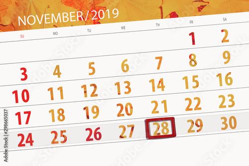 Tela  Calendar planner for the month november 2019, deadline day, 28, thursday