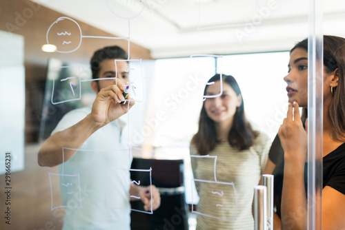 Business Team Planning Over Diagram In Office